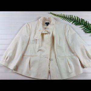 Cream cropped jacket with burton neck